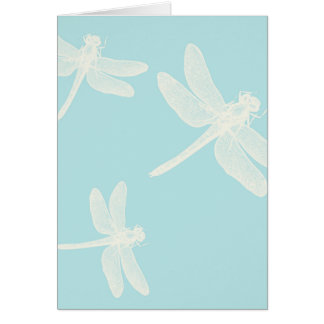 Cream Dragonflies on Teal Blue Background Card