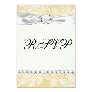 cream ecru floral elegant damask card