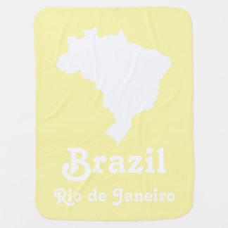 Cream Festive Brazil with custom text Receiving Blankets