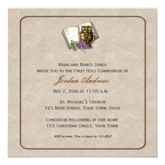Cream First Communion Symbols Card