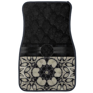 Cream Floral Pattern Monogram Car Carpet