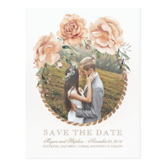 Cream Floral Watercolors Gold Photo Save the Date Postcard