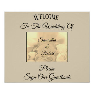 Cream & Floral with Rings & Greeting - Poster