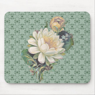 Cream Flowers And Lace Vintage Mouse Pad