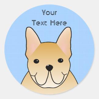 Cream French Bulldog. Dog Cartoon Classic Round Sticker