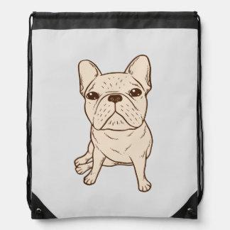 Cream French Bulldog Drawstring Bag