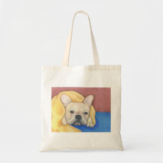 Cream French Bulldog with blanket tote