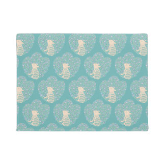 Cream Frenchie and the Spring foliage Doormat