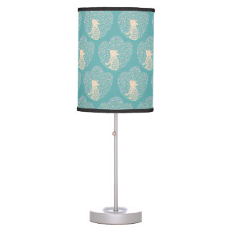 Cream Frenchie and the Spring foliage Table Lamp