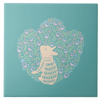 Cream Frenchie and the Spring foliage Tile