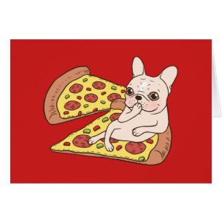 Cream Frenchie invites you to her pizza party Card