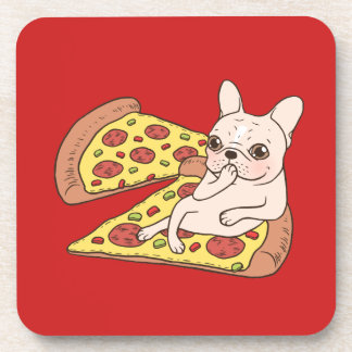 Cream Frenchie invites you to her pizza party Coaster