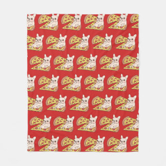 Cream Frenchie invites you to her pizza party Fleece Blanket