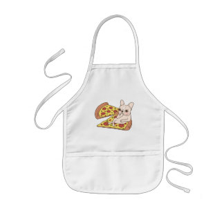 Cream Frenchie invites you to her pizza party Kids Apron