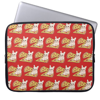 Cream Frenchie invites you to her pizza party Laptop Sleeve