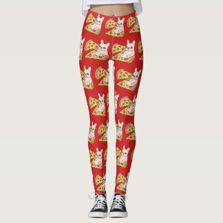 Cream Frenchie invites you to her pizza party Leggings