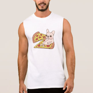 Cream Frenchie invites you to her pizza party Sleeveless Shirt
