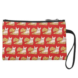 Cream Frenchie invites you to her pizza party Suede Wristlet