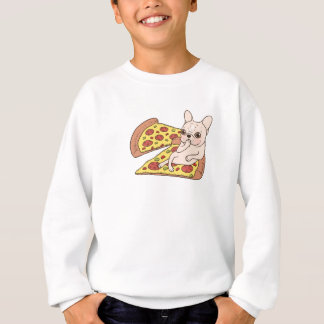 Cream Frenchie invites you to her pizza party Sweatshirt