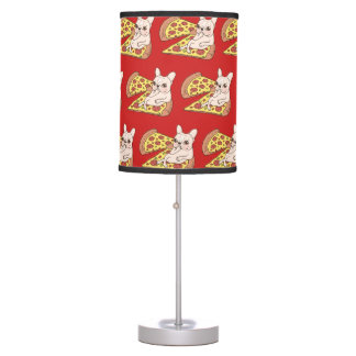 Cream Frenchie invites you to her pizza party Table Lamp