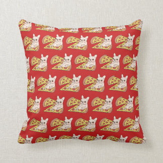 Cream Frenchie invites you to her pizza party Throw Pillow