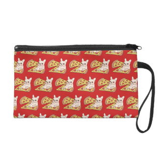 Cream Frenchie invites you to her pizza party Wristlet