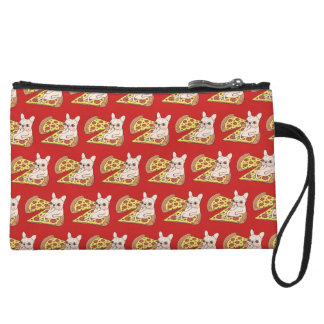 Cream Frenchie invites you to her pizza party Wristlet Clutch
