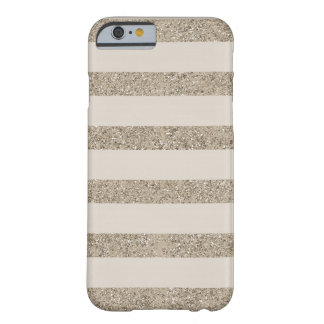 Cream Gold Faux Glitter Stripes Barely There iPhone 6 Case