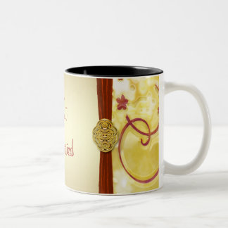 Cream Gold & Red Floral Beverage Two-Tone Coffee Mug