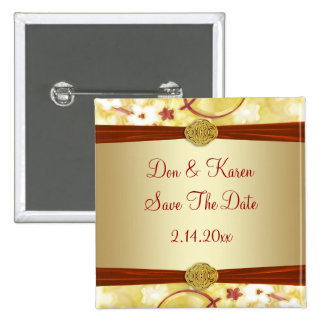 Cream Gold & Red Floral Save The Date 2 Inch Square Button