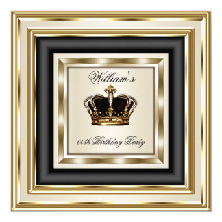Cream Gold Silver Birthday Prince King Queen 2 Card
