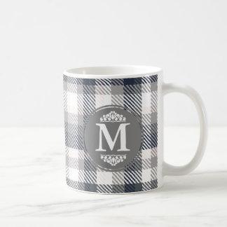 Cream & Gray Plaid Monogram Letter Coffee Mug
