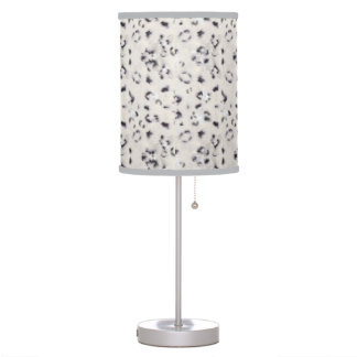 Cream & Grey Spotted Snow Leopard Animal Pattern Table Lamp