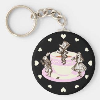 Cream Hearts Around a Mad Tea Party Keychain