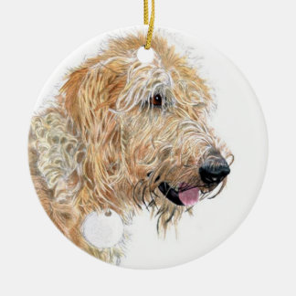 Cream labradoodle ceramic ornament