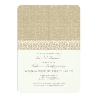 Cream Lace on Burlap Bridal Shower Invitation