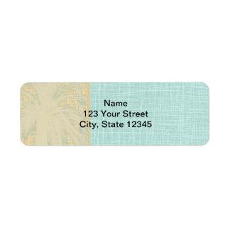 Cream Linen and Blue Palm Trees Return Address Label