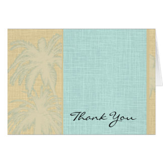 Cream Linen and Blue Palm Trees Thank You Card