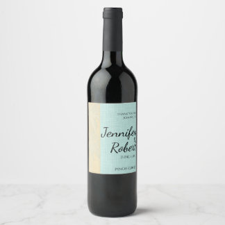 Cream Linen and Blue Palm Trees Wine Label
