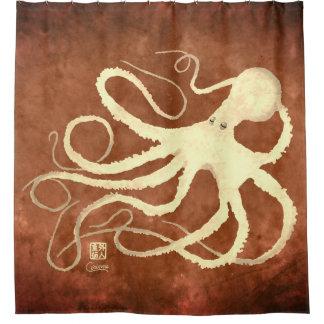 Cream Octopus on Chocolate - Shower Curtain