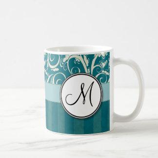 Cream on Teal Floral Wisps & Stripes with Monogram Coffee Mug