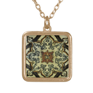 Cream Oriental Rug Gold Plated Necklace