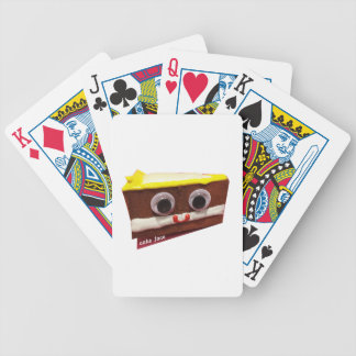 cream pie cake face with logo bicycle playing cards