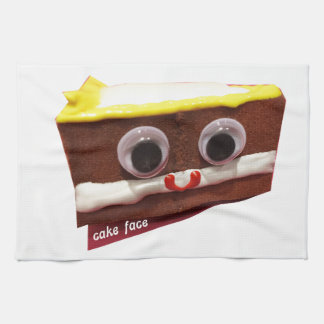 cream pie cake face with logo hand towels