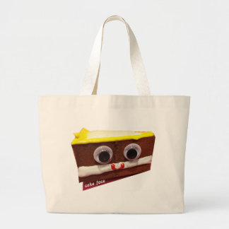 cream pie cake face with logo large tote bag