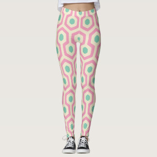 Cream/Pink Hexagon Pattern Leggings