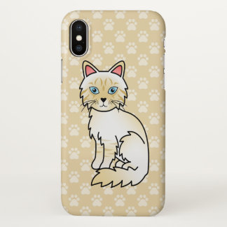 Cream Point Tabby Birman / Ragdoll Cat Drawing iPhone X Case
