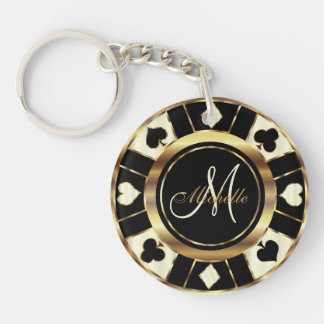 Cream Poker Chip Design - Monogram Keychain