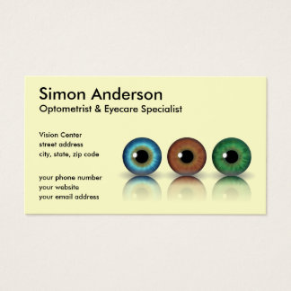 Cream Professional Eyeballs Optometry Business Card