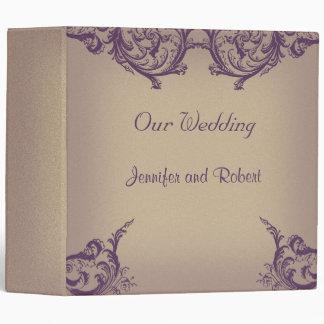 Cream Purple Vintage Scroll Posh Wedding Binder